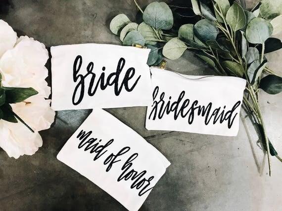 Bridesmaid Make Up Bags | Maid of Honor Gift | Bride Make Up Bag | Custom Make Up Bag