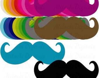 60% OFF SALE Rainbow Mustache Digital Clip Art - Commercial Use - Instant Download - M141