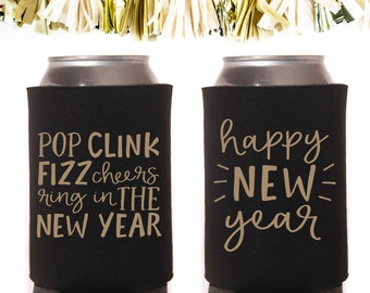 Metallic Gold and Black New Year's Eve Can Cooler Neoprene Can Coolers // Favors Year Pop Fizz Cheers Ring In