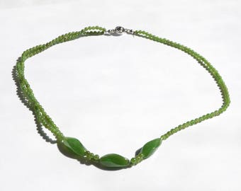 Vintage Natural Genuine Spinach Green Nephrite Jade Jadeite Bead Necklace