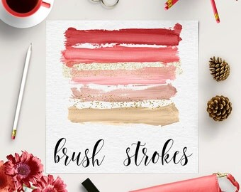 BRUSH ART, Abstract Brush Shapes, Red, Pink, Gold, Acrylic Brush Shapes, Glitter Brush Strokes, Hand Painted Brush Strokes, BUY5FOR8
