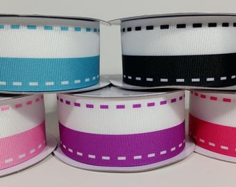 """1 1/2"""" Grosgrain Dual Color with Saddle Stitch Print Ribbon - 10 Yards"""