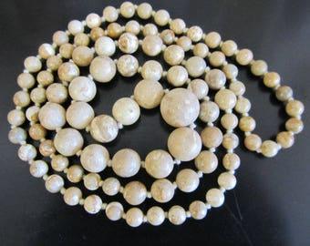Carved Jasper Bead Necklace