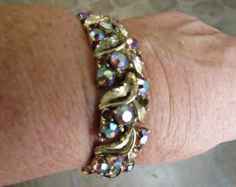 Vintage Aurora Borealis Crystal Link Bracelet