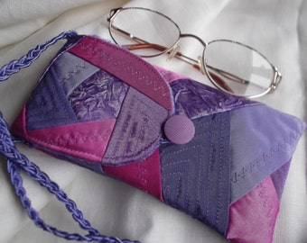Reading glasses case women eyeglass soft fabric pouch eye glass holder with long strap gift ideas
