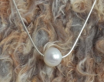 White Freshwater Pearl Float Necklace - 18 inch on a 925 Silver Snake Chain