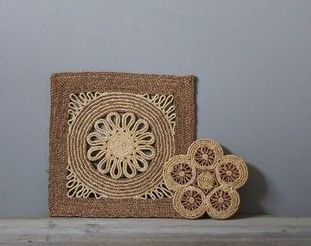 Vintage boho woven trivets | boho kitchen decor | woven wall hangings