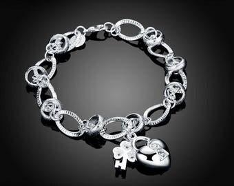 New Women .925 Silver Plated  Heart Key Charm Chain Bracelet