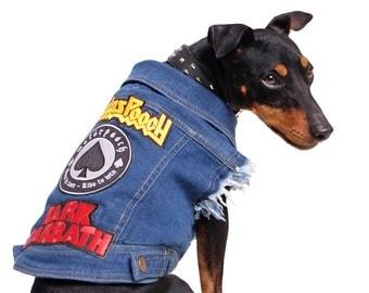 Dog Jacket / Dog Vest / Denim Dog Jacket / Denim Dog Vest / Dog Coat / Dog Battle Jacket / Cool Dog Jacket / Designer Dog Coat