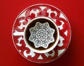 "48 Sugar Doilies 2.5"" Edible Stargaze Doily Snowflake Frozen Tea or Coffee Doilies"