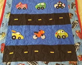 Handmade Disney's Cars Applique Baby/Toddler/Child Quilt