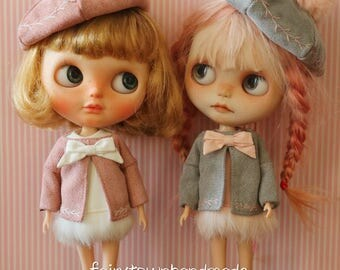 fairytown handmade sweet puff rabbit suit[gray/pink] for blythe doll preorder[free shipping]