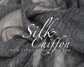 Charcoal Grey Crinkled Silk Chiffon EXPRESS delivery