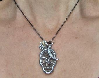 Sugar Skull Necklace - Hamsa Hand Necklace - Moon Necklace - Sugar Skull Pendant - Hamsa Hand Pendant - Moon Pendant - Cubic Zirconia Charm