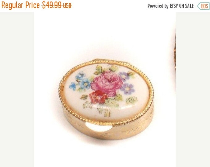 Storewide 25% Off SALE Ornate Vintage Gold Tone Hand Painted Limoges Personal Hinged Medication Pill Box Featuring Victorian Enamel Style Pa