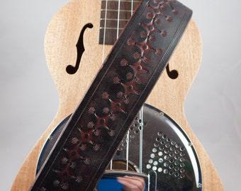 Mandolin/Ukulele Strap, Hand-tooled Leather, Adjustable, Original Design