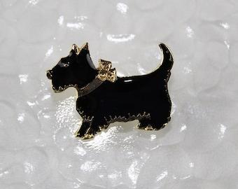 Black Enamel Scottie Dog Vingate Brooch Pin, J220