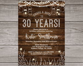 BBQ Birthday Invitation - Cheers to 30 Years - 40th Birthday Invitation - Rustic Birthday Party Invitation - Adult Birthday - Birthday-106