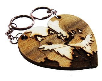 Foxes couple keychain laser name
