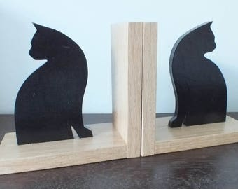 A Pair of Hand Made and Hand Painted Black Cat Looking Away Bookends