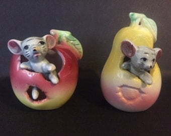 Vintage Mouse in an Apple and a Pear