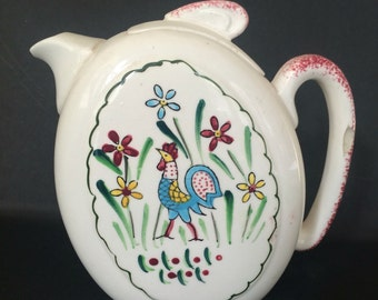 Vintage Teapot with Rooster and Flowers