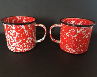 Vintage Orange and White Enamelware Mugs