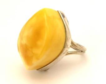 Amber Baltic Ring Genuine Vintage 10.18 Gr Huge Egg Yolk Color Handmade