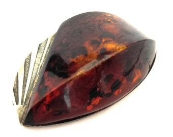 Amber Baltic Brooch Genuine Antique 12.79 Gr Silver 875 Cognac Color