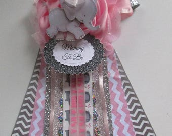 Elegant Elephant Mommy To Be Baby Shower Corsage, Baby Girl Shower Corsage, Pink Baby  Shower