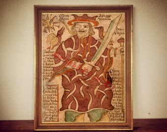 Viking art, Odin's Ravens Huginn and Muninn, Nordic print, Scandinavian poster #455