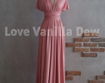 Bridesmaid Dress Infinity Dress Rose Pink Floor Length Maxi Wrap Convertible Dress Wedding Dress
