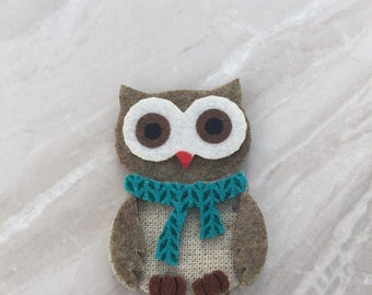 Owl fridge magnet, felt magnet, christmas magnet, kitchen decor, Christmas decor, office magnet, stocking filler