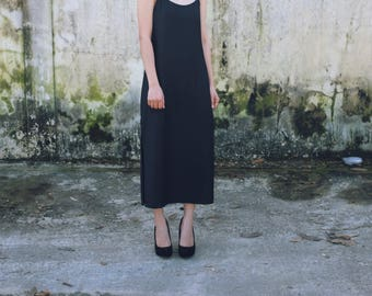 100% Silk Black Strap Dress