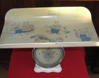 Vintage Baby Scale with Animal decals