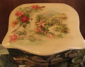 Vintage Celluloid and Paper Mache' Satin lined box