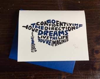 Hand Lettered Mortarboard Shape Graduation Card