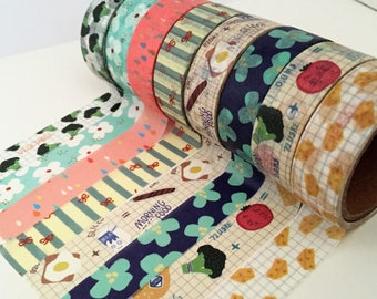 Summer Breakfast Washi Tape Set -  8 Roll Set - Vegetable Broccli Washi Tape - Egg Cheese - Floral Flower Raindrops Washi Tape UK