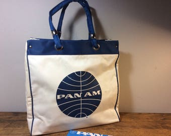 Vintage PAN AM Tote White with Blue