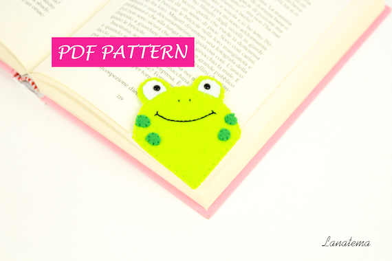 frog corner bookmarks pdf pattern frog bookmark felt diy easy sewing craft 2054