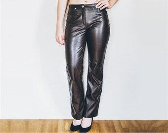 90s Brown Pants, Faux Leather Pants, Vintage Pants, Fake Leather Pants, Leather Trousers, Mid Waist Pants - Size M Medium