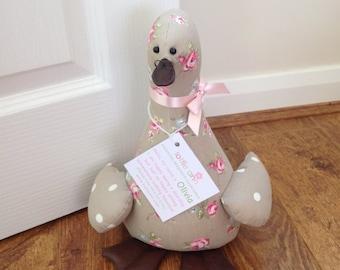 Olivia! Duck Doorstop, Fabric Doorstop, Novelty Doorstop, Novelty Gift, Personalised Gift