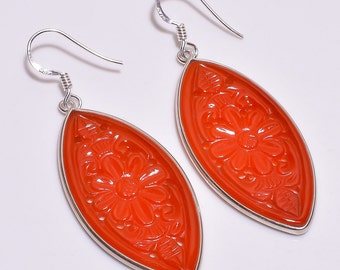 925 Sterling Silver Earrings, Orange Onyx Earrings, gemstone Earrings, Marquise Earrings, Hand Carved Jewelry, Dangle Hook Earrings