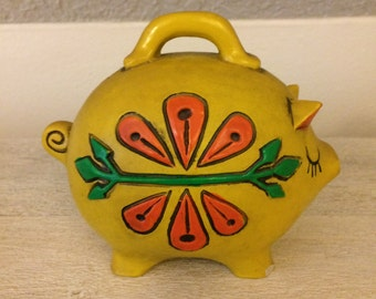 Vintage, Hand Painted Piggy Bank, Plaster, Yellow, Orange and Green