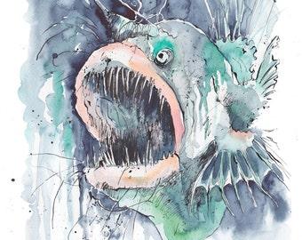 Angler fish - Original watercolour painting/drawing with pen & ink - deep sea diving, blue/green background, Ocean predator