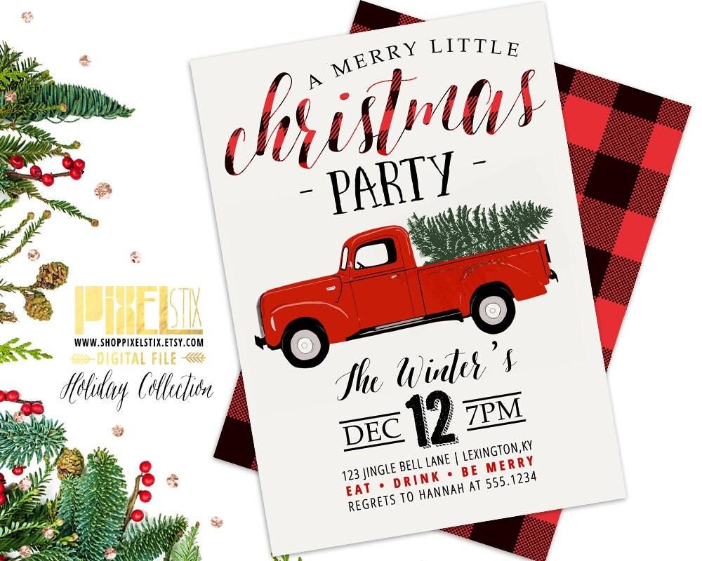 Christmas Party Invitation Red Truck Invite Retro Holiday