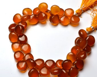 1  Full Stand 8 Inch Long Strand,Superb  CHALCEDONY  Smooth Heart Shape Beads Briolettes 10 to 11  MM size
