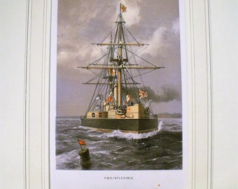 Colour Lithographic Print HMS Inflexable Victorian Ships Of Royal Navy Antique (6151)
