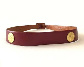 Vintage Burgundy Belt . Golden coin Belt . French 1980 high-end belt .
