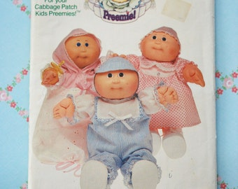 1980s Cabbage Patch Kids Preemie Sewing Pattern Retro Butterick 6981 Doll Clothing